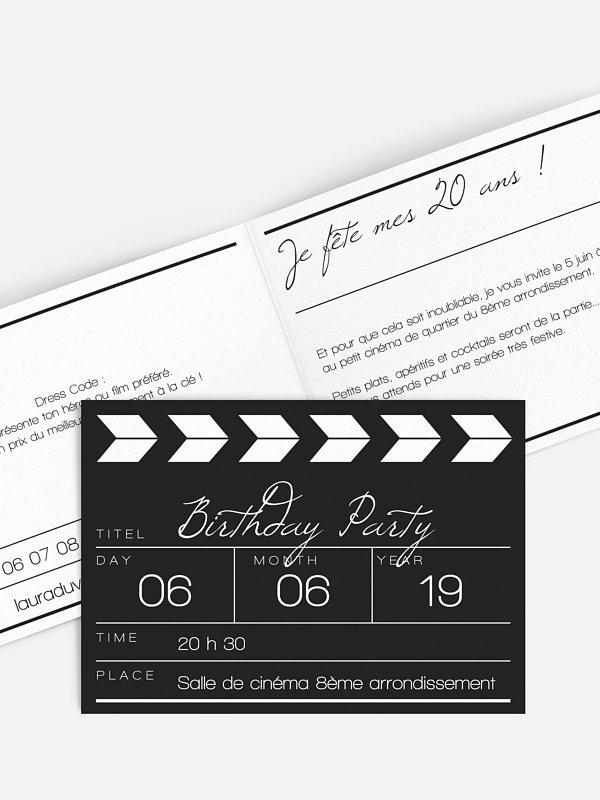 invitation anniversaire cinema