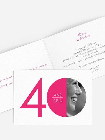 carte invitation anniversaire 40 ans