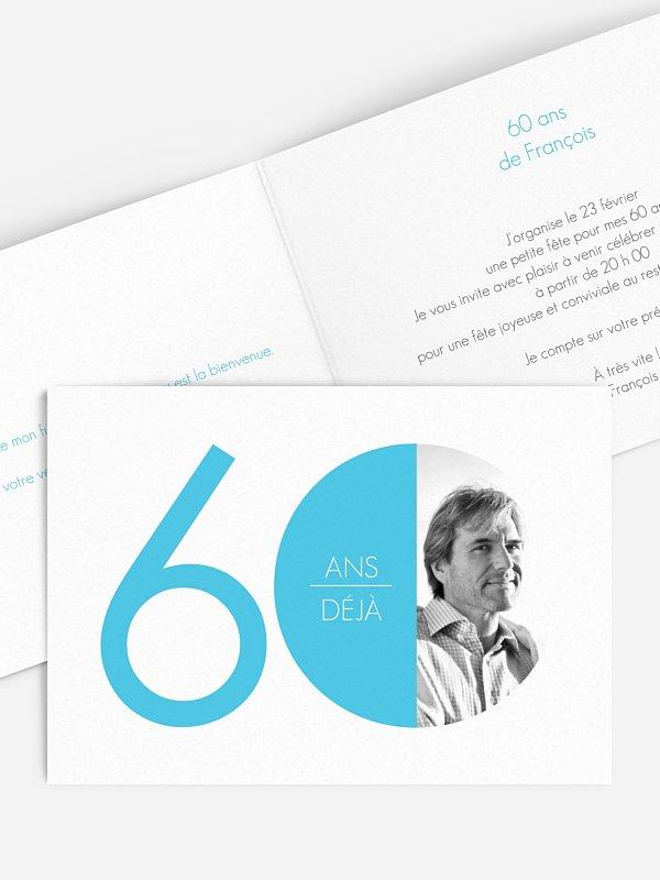 invitation anniversaire 60 chiffre rond