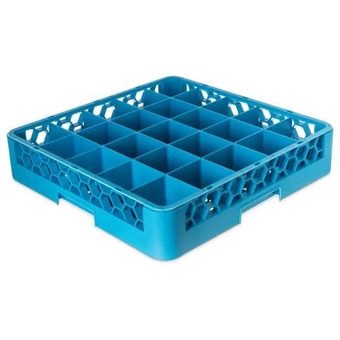 carlisle rg2514 opticlean glass rack w 25 compartments blue