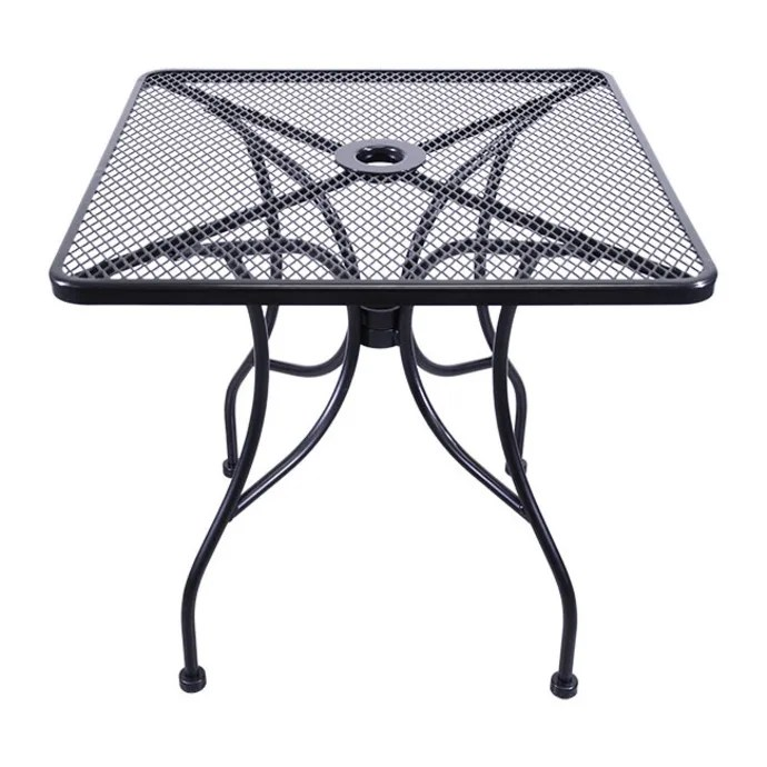 h d commercial seating mt3030 30 square outdoor table w umbrella hole steel black
