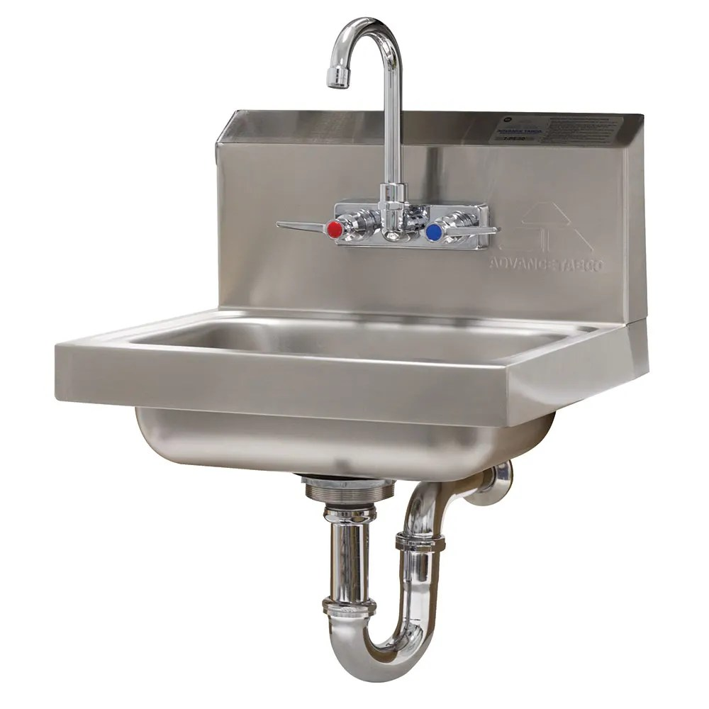 advance tabco 7 ps 54 wall mount commercial hand sink w 14 l x 10 w x 5 d bowl standard faucet
