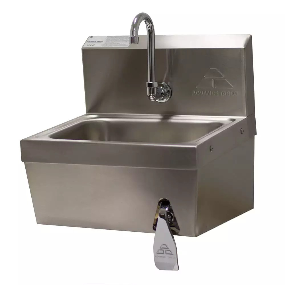 advance tabco 7 ps 62 wall mount commercial touchless hand sink w 14 l x 10 w x 5 d bowl basket drain