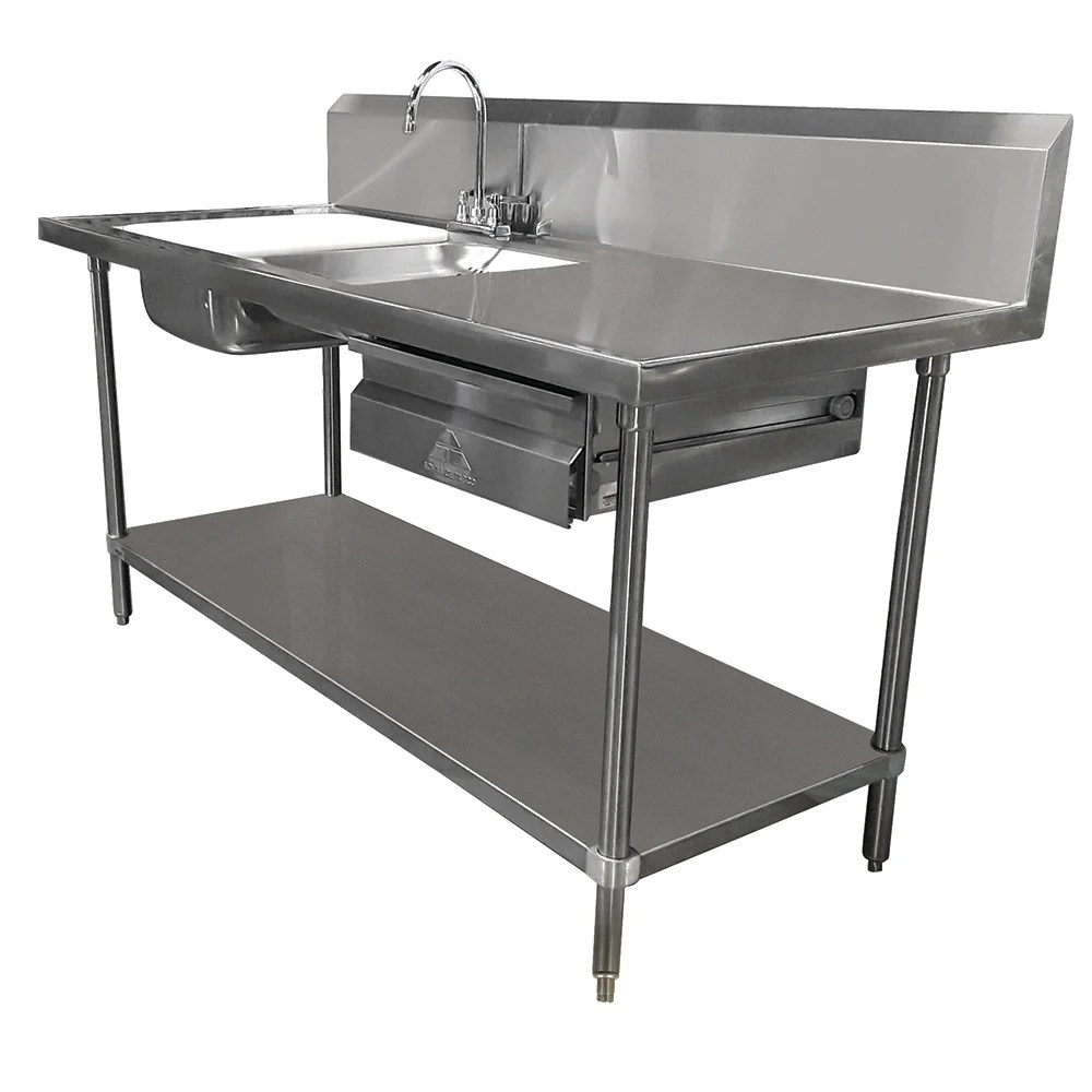 advance tabco dl 30 72 72 prep table sink unit 2 sinks deck mount gooseneck
