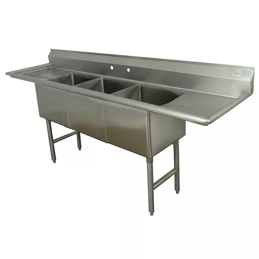 advance tabco fc 3 1620 18rl 84 3 compartment sink w 16 l x 20 w bowl 14 deep