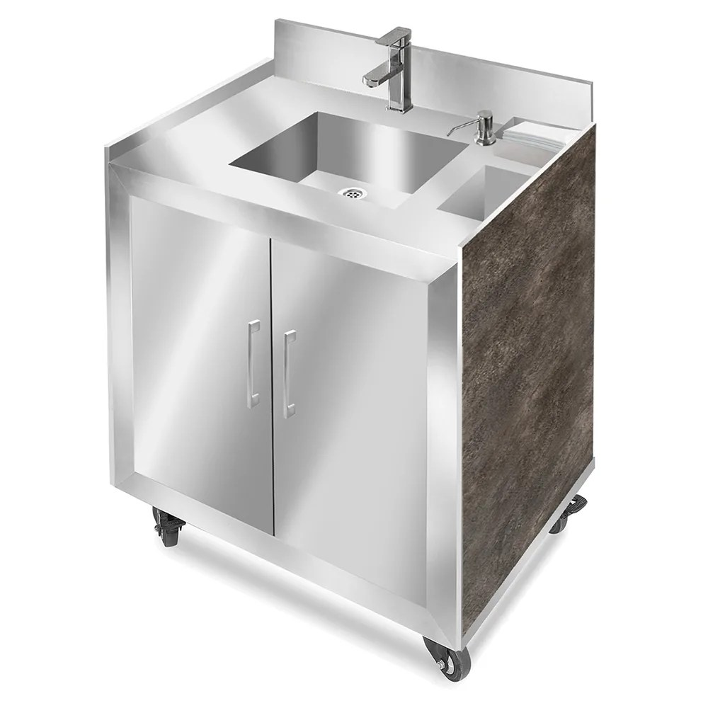 eastern tabletop st6120ps 34 h portable sink w 5 d bowl hot cold water