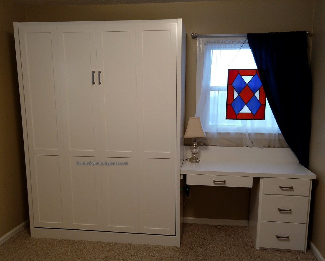 full size murphy bed and small office desk to make a bedroom work as an office