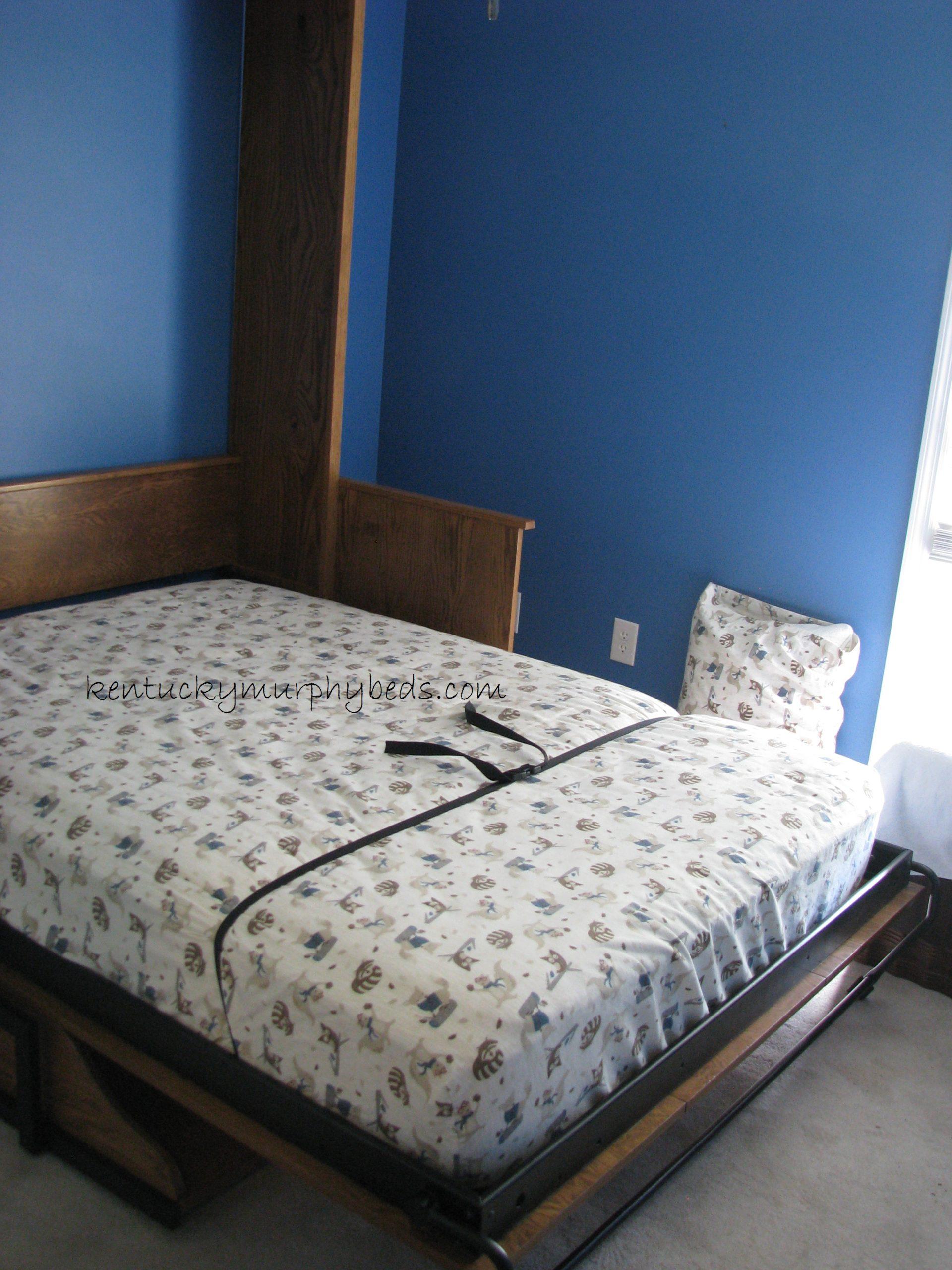 oak desk panel door Murphy bed, full size, open view with fold away desk top