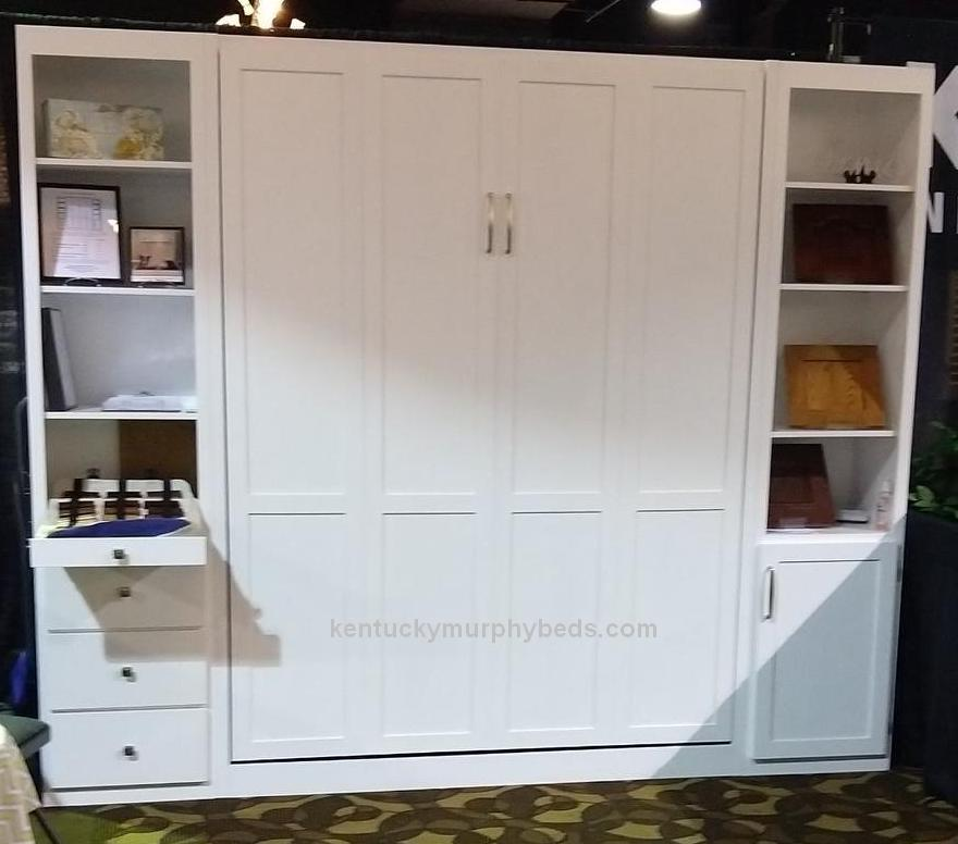 queen panel bed with bookshelves, 18 inch cabinet footprint from the wall, discount price on show model