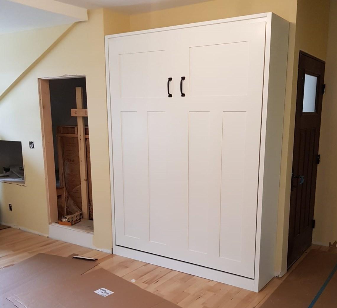 queen Murphy bed, white painted panel door style with shaker trim