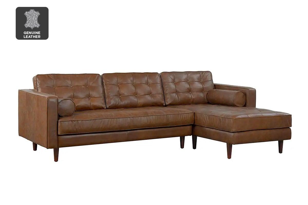 matt blatt lexington 3 seater leather sofa with chaise rhf oxford tan