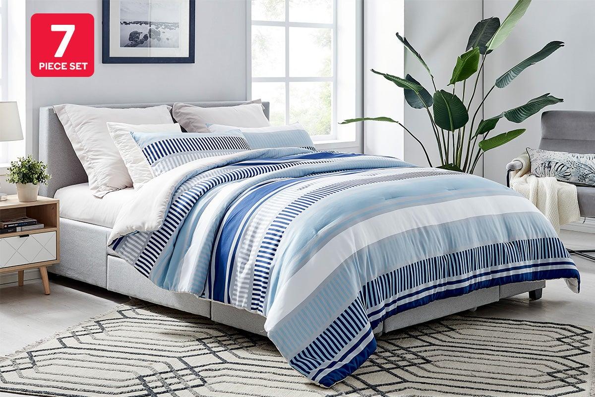 ovela 7 piece bed in a bag comforter set double stripes