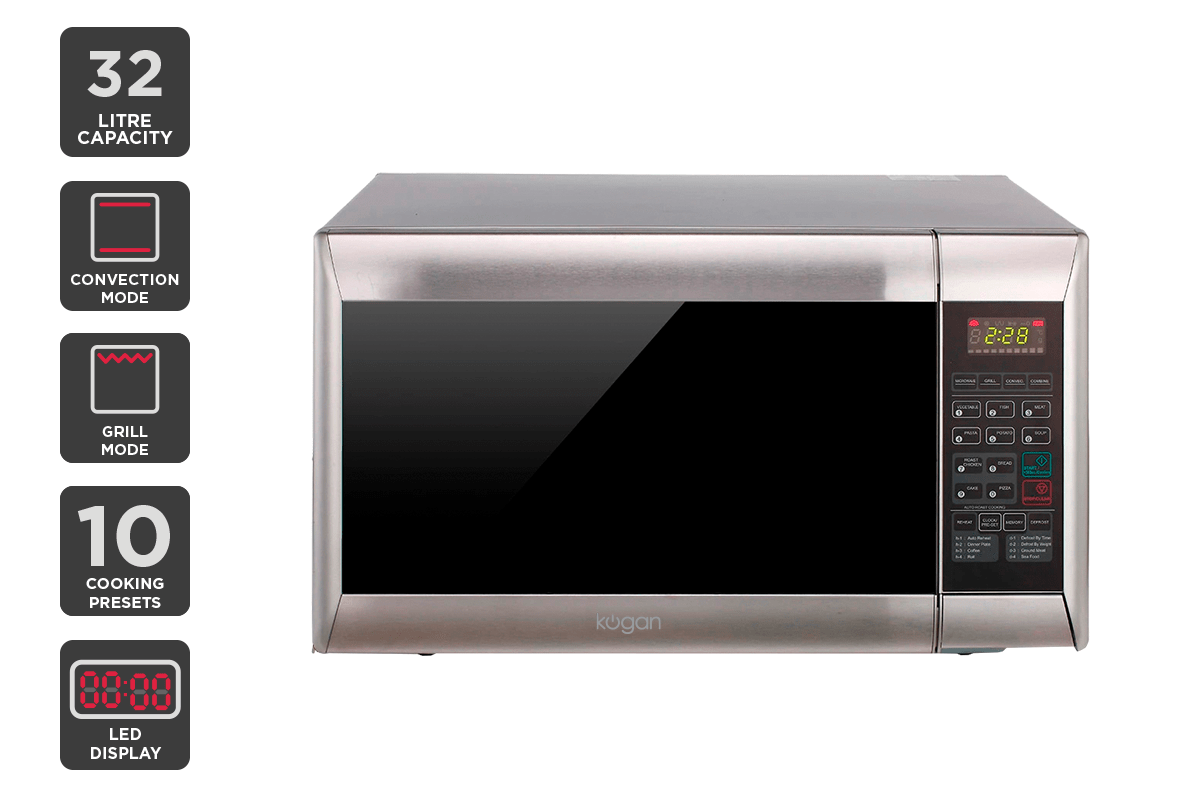 kogan 32l stainless steel convection microwave oven with grill microwaves