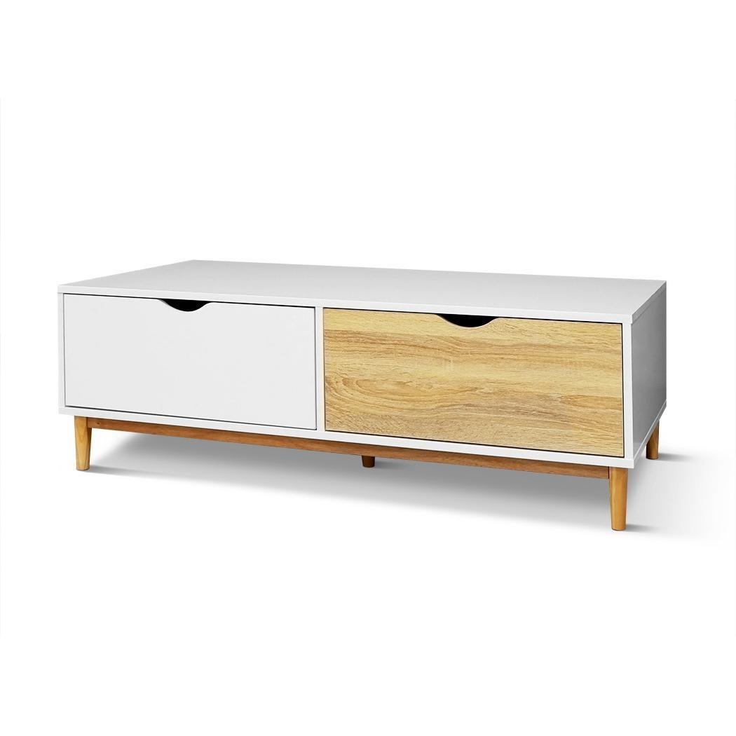 coffee tea table wood 2 drawers storage shelf home furniture scandinavian 120cm