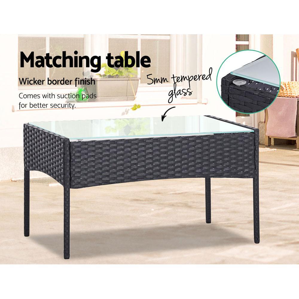outdoor furniture set 4pc patio garden armchair table dark grey wicker
