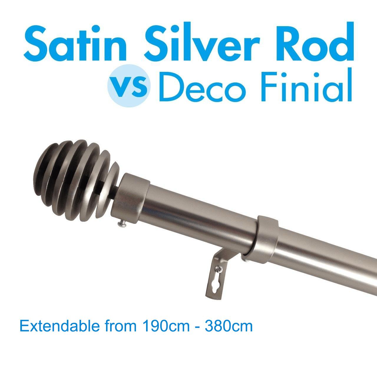 extendable curtain rod 190 380cm satin silver