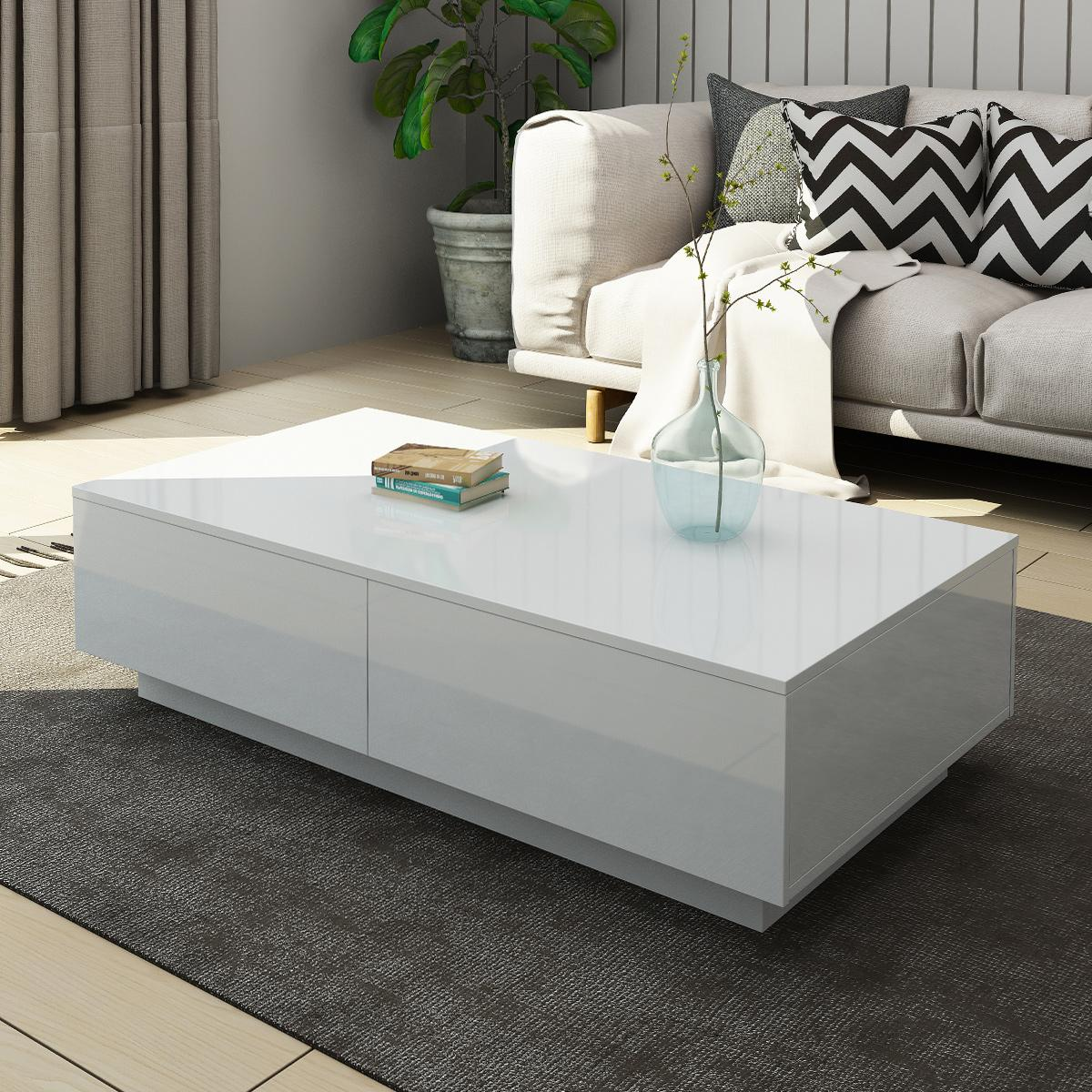 modern coffee table 4 drawer storage shelf high gloss wood living room furniture white