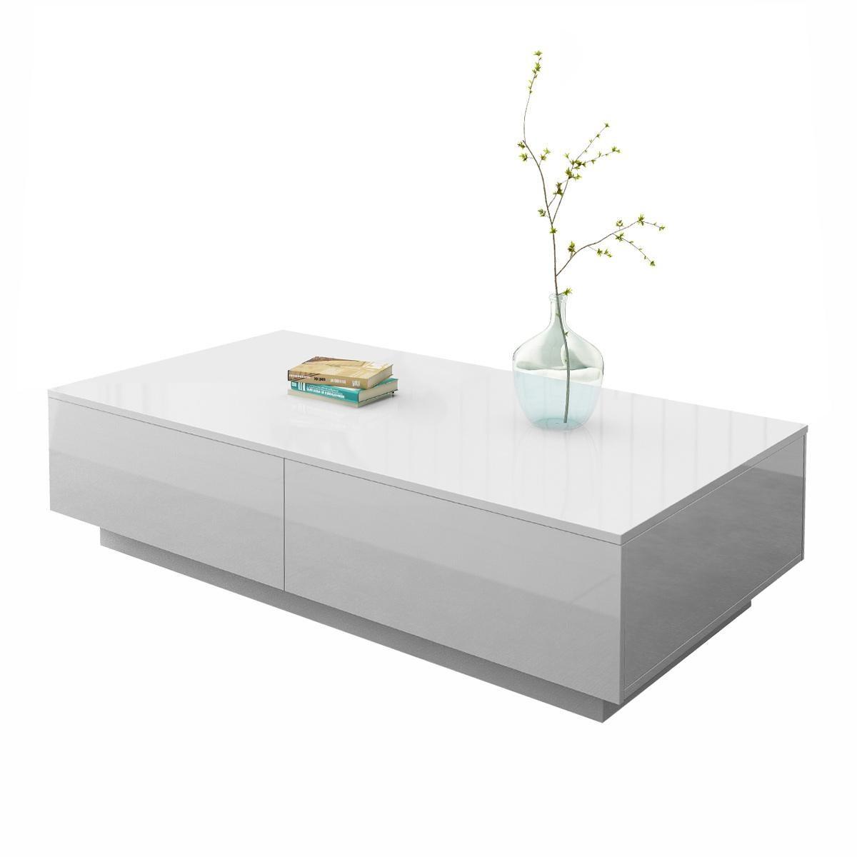 modern coffee table 4 drawer storage shelf high gloss wood living room furniture white