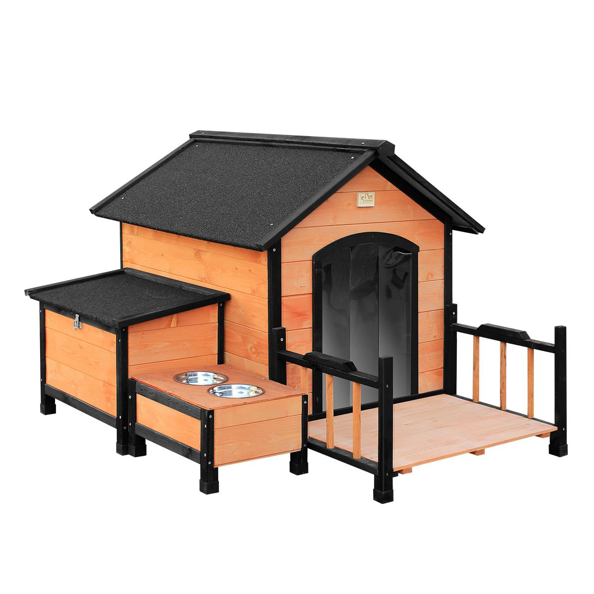 l size timber dog kennel pet dog house w removable floor patio storage box food bowls
