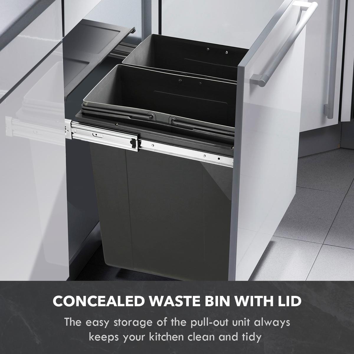 68l pull out kitchen bin under sink dual bins cupboard waste recycling bin