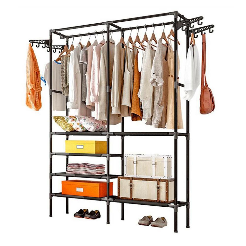 bedroom hanger coat rack metal clothes hanging rail rod hanger shoe stand shelves black