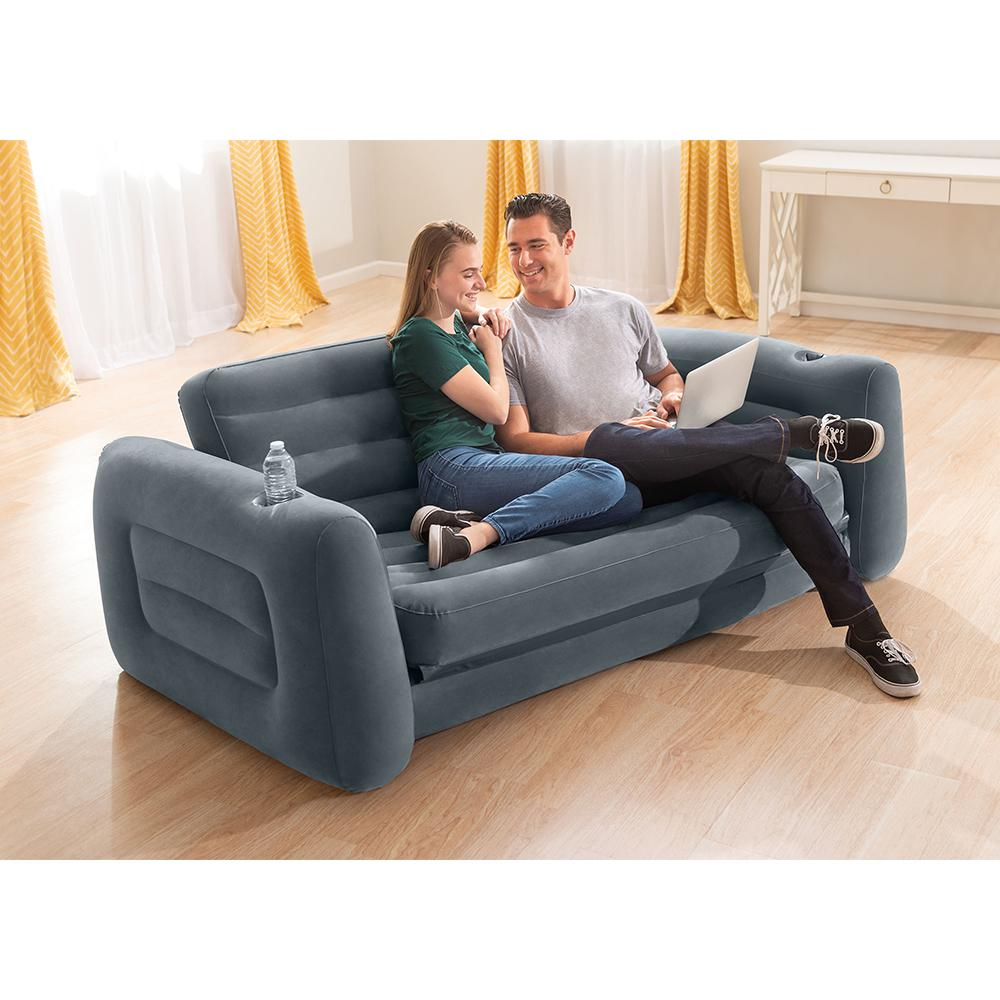 intex inflatable 203 x224x 66cm pull out air couch sofa bed w drink holder grey