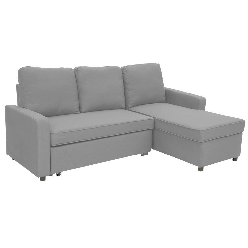 Sarantino 3 Seater Corner Sofa Bed Lounge Storage Chaise Couch L Grey Matt Blatt