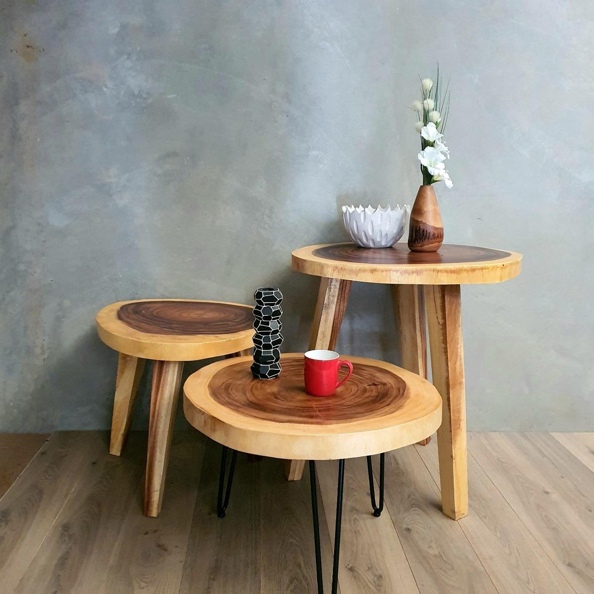 round raintree wood live edge coffee table 65cm diameter 45cm tall