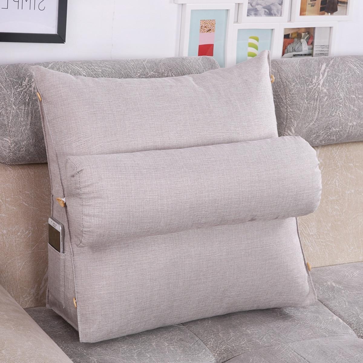 adjustable office sofa back back pillow bed backrest chair rest neck support light gray