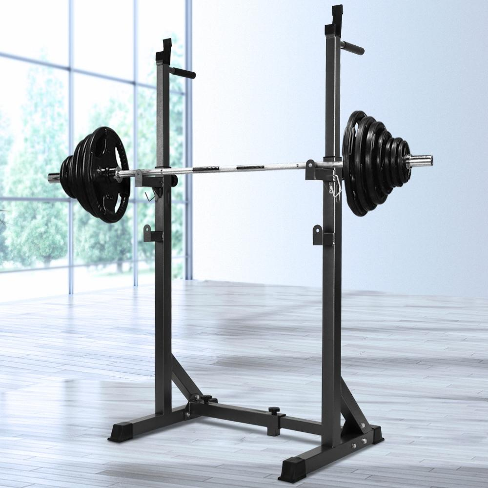 everfit adjustable squat rack fitness exercise weight lifting barbell stand benches