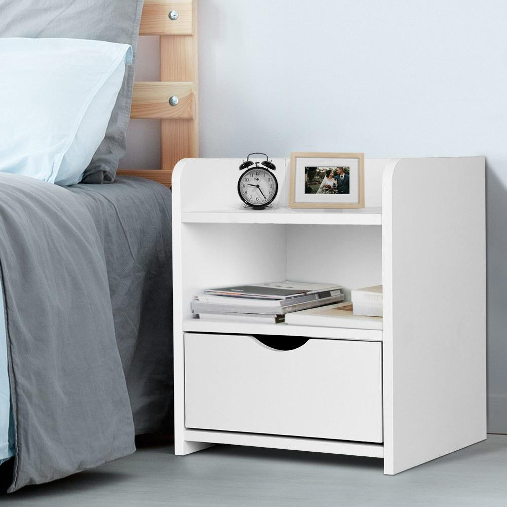 Artiss Bedside Tables Drawers Side Table Bedroom Nightstand White Unit Matt Blatt