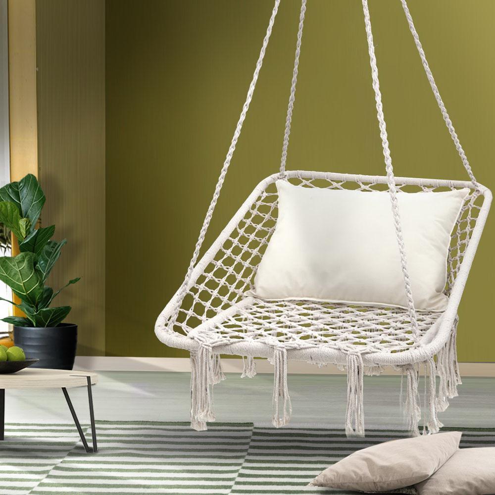 Gardeon Camping Hammock Chair Outdoor Hanging Rope Portable Swing Cream Kogan Com