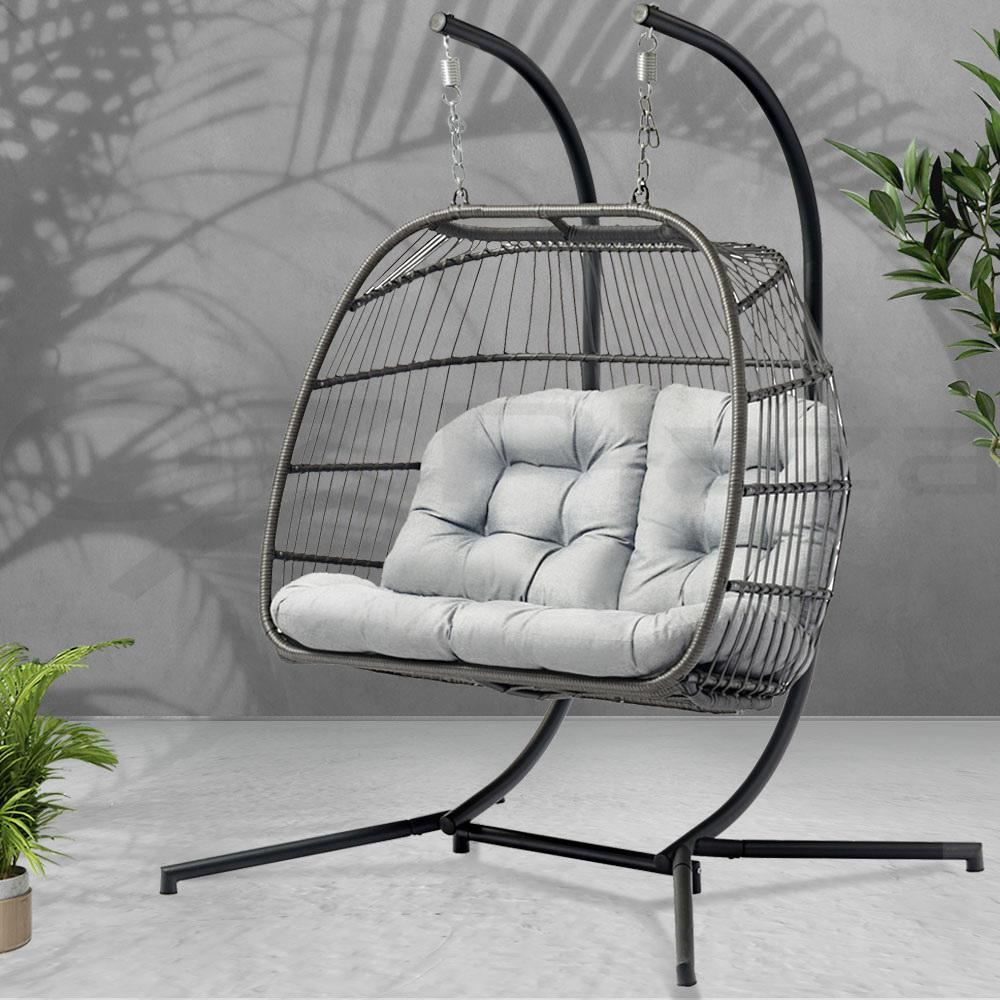Gardeon Outdoor Furniture Hanging Swing Chair Egg Hammock Wicker 2 Person Matt Blatt