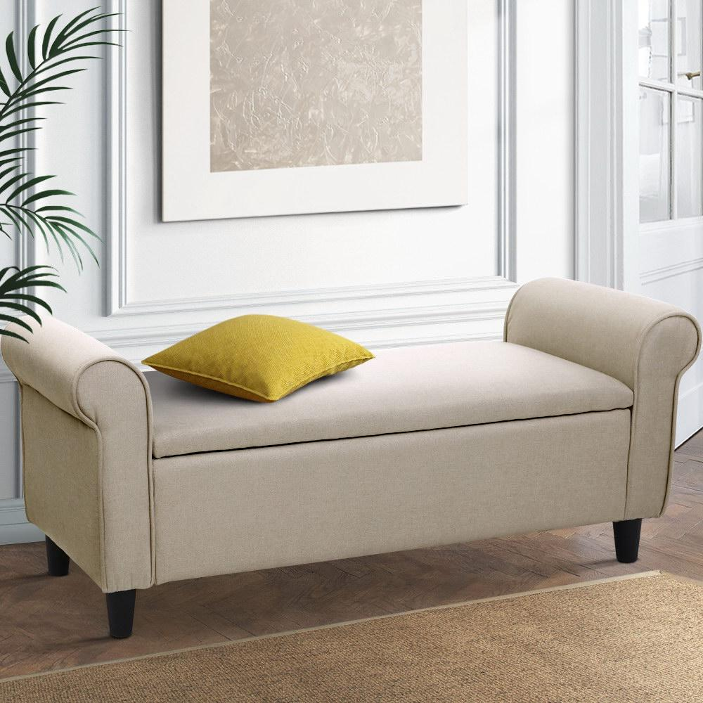 artiss large fabric storage ottoman taupe arm rest top seat cushion blanket box bench foot stool linen fabric ottomans footstools poufs