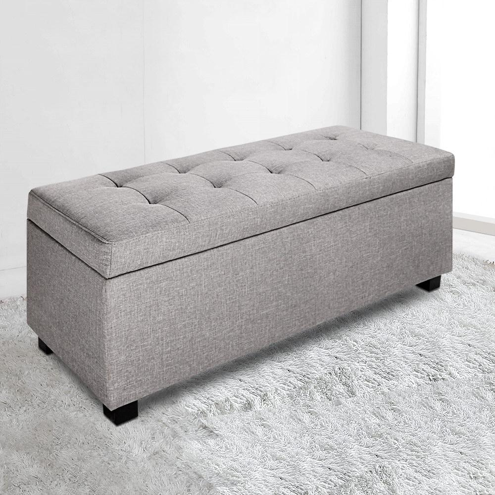 artiss faux linen blanket storage ottoman box fabric chest footstool cushion seat lift up lid grey benches ottomans