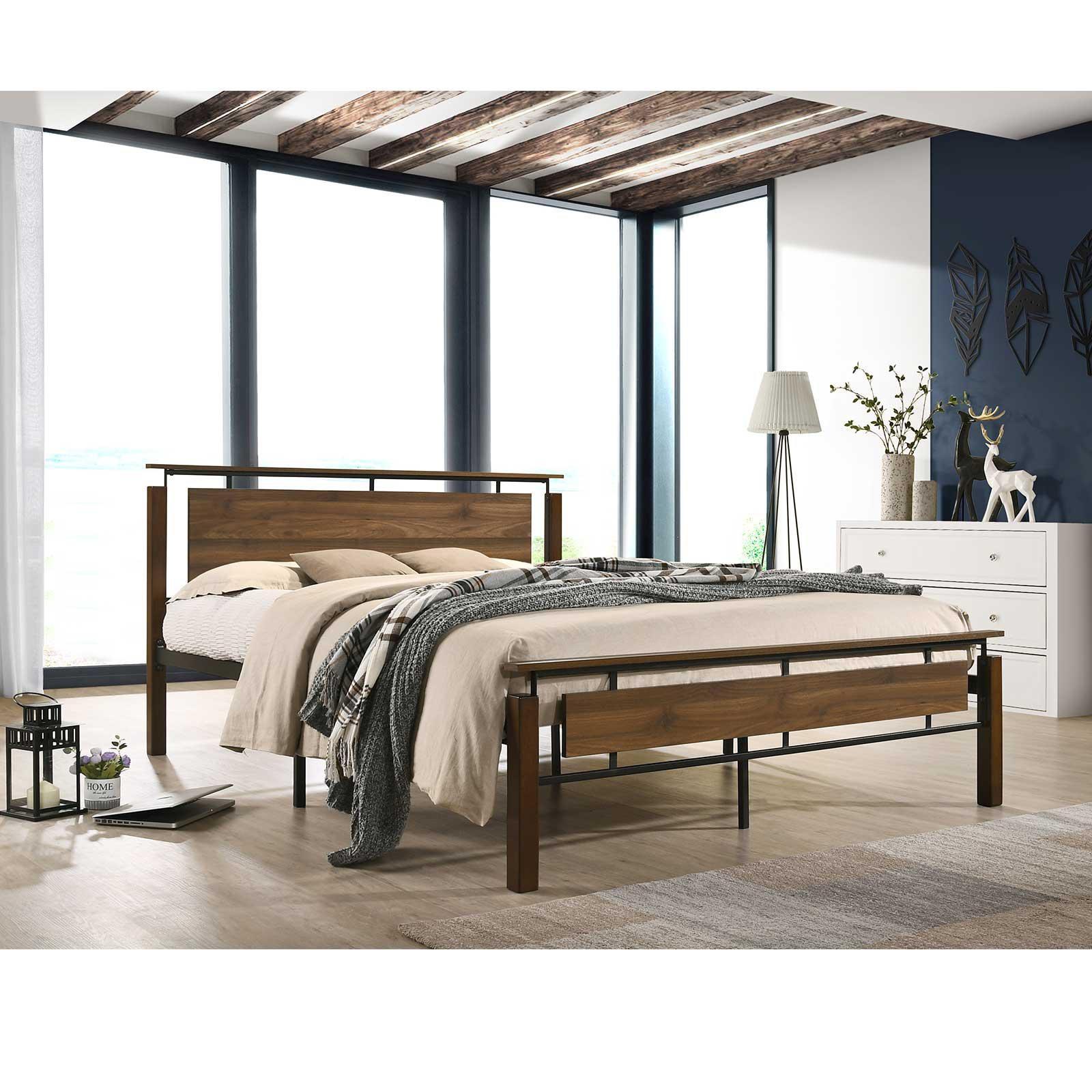 industrial metal bed frame with solid rubberwood platform base queen size bed frames