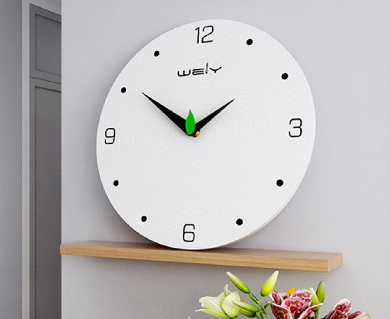 Select Mall Personality Creative Living Room Clocks Fashion Simple Mute Home Wooden Wall Clock Decorative Digital Wall Clock 12 Inches Kogan Com