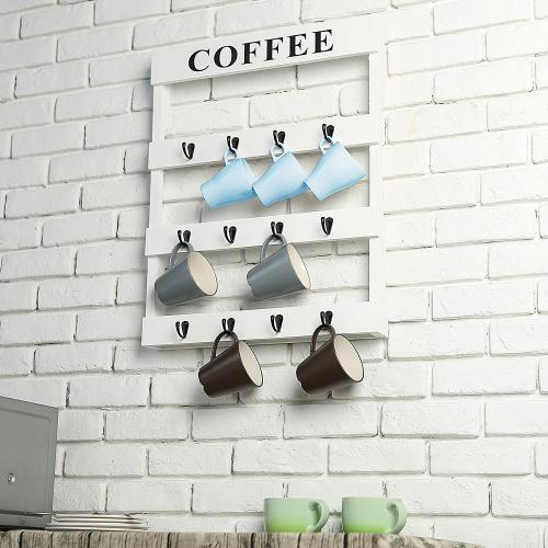white mygift 12 hook rustic white wall mounted wood coffee mug holder kitchen storage rack