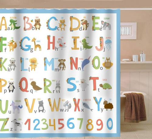 new alphabet blue sunlit alphabet fabric shower curtain for kids abc learning tool for boys and babies large a to z poster tapestry waterproof