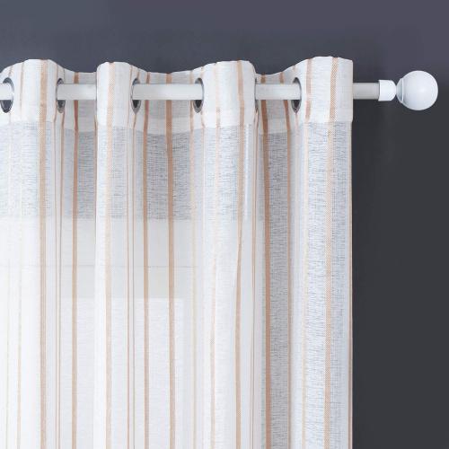 140cm x 230cm b9 narrowkhaki topfinel semi voile curtains eyelet ring top yarn dyed net sheer curtains vertical stripe design window treatments