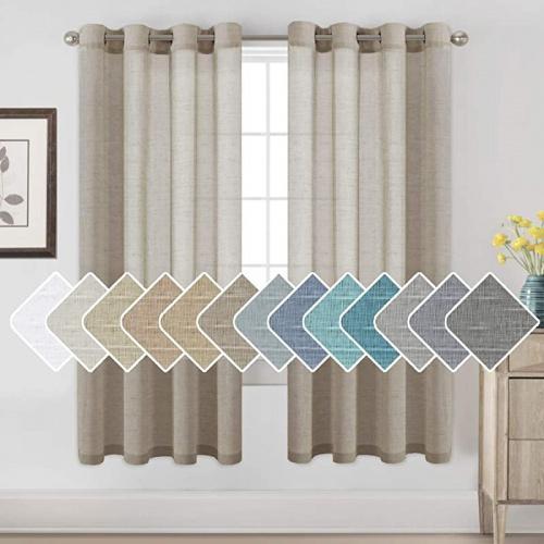130cm w x 180cm l taupe sheer linen kitchen curtains linen curtains 180cm long bedroom window treatments for living room rich linen curtain