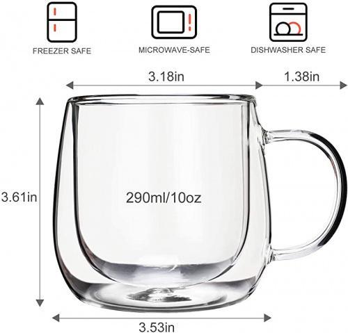 glass mugs 10 oz 290ml cnglass insulated glass coffee mugs 300ml set of 2 large double wall glass espresso mugs clear glasses cappuccino mug with