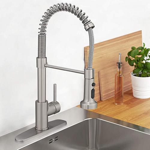 hoimpro lead free high arc spring kitchen faucet with pull down sprayer commercial rv single lever kitchen sink faucet 3 function single handle