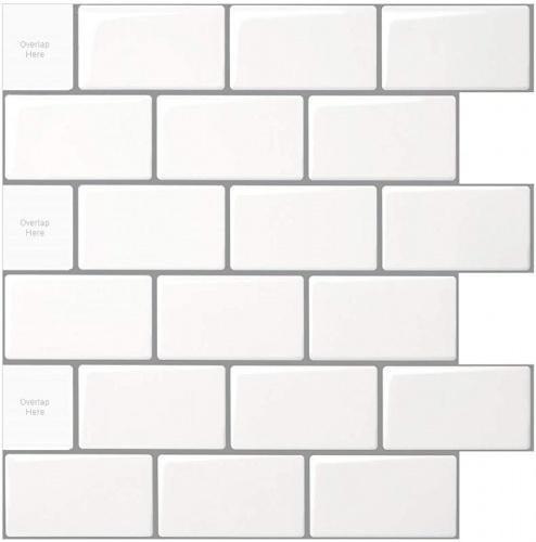 10 sheets lka2300 10 sheet peel and stick tile for kitchen backsplash 30cm x 30cm white subway tile with grey grout