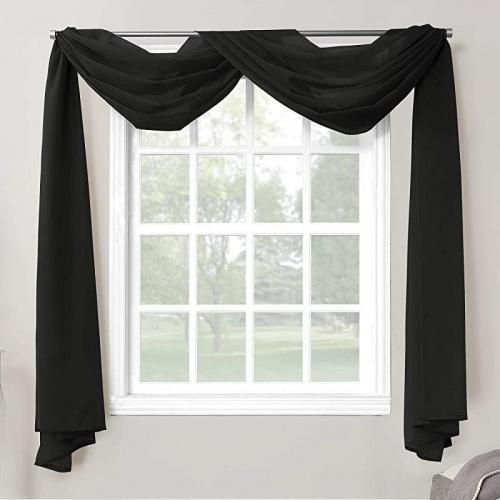valance scarf black no 918 emily sheer voile rod pocket curtain panel valance scarf black
