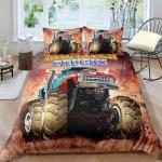 Helehome Monster Truck Duvet Cover Set Boys Hobby Sports Bedding Set With Flame Exotic Automobile Style Image Decorative 2 Piece Bedding Set With 1 Pillow Shams Twin Size Matt Blatt