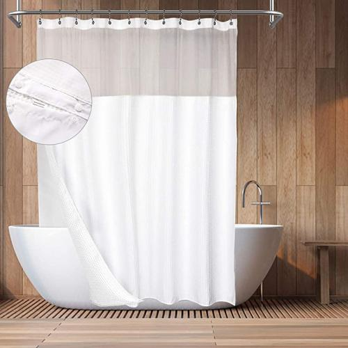 71wx84h white barossa design hotel style cotton shower curtain with snap in fabric liner 210cm extra long mesh window top honeycomb waffle