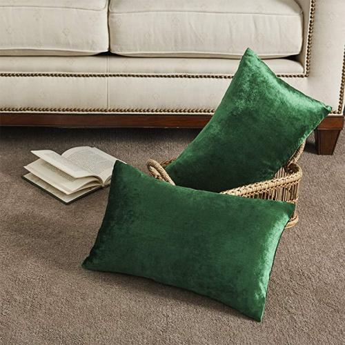 30cm x 50cm set of 2 forest green gigizaza decorative small lumbar pillow covers cushion covers velvet olive green pillows sofa throw 12 x 20