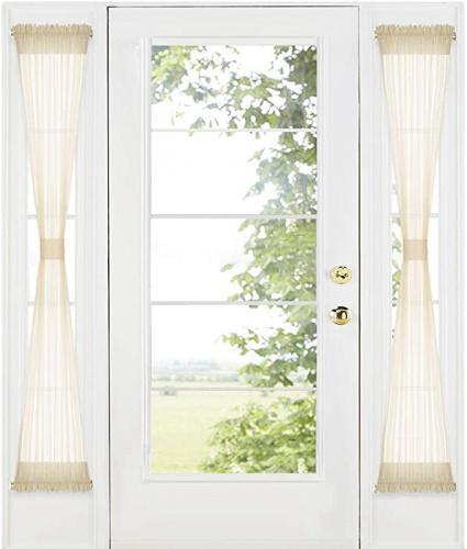 w 30 x l 72 beige ryb home sidelight curtains for front door french door side lights panels dual rod pockets privacy light filtering window