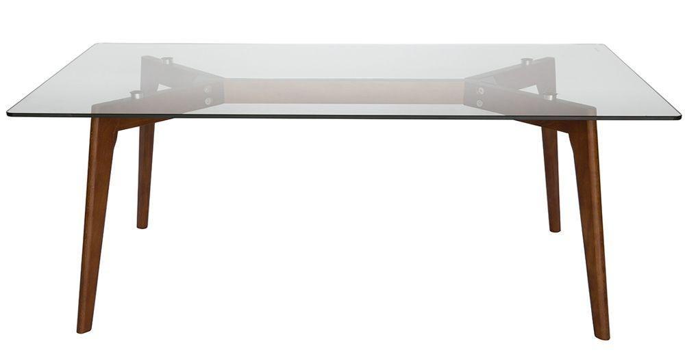 stad rectangle glass coffee table walnut